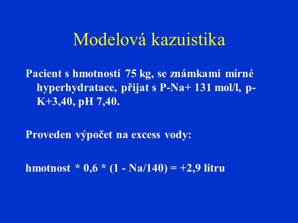 Modelová kazuistika Pacient s hmotností 75 kg, se známkami mírné hyperhydratace, přijat s P-Na+ 131 mol/l, p- K+3,40, pH 7,40. Proveden výpočet na exc