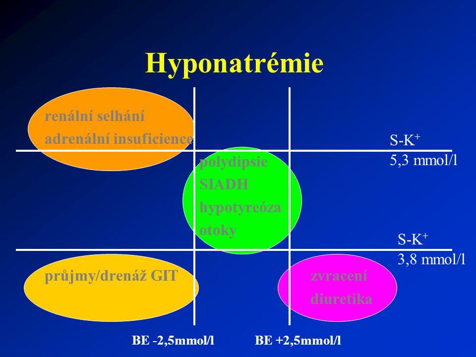 Hyponatrémie renální selhání adrenální insuficience polydipsie SIADH hypotyreóza otoky průjmy/drenáž GIT zvracení diuretika S-K + 5,3 mmol/l BE -2,5mm