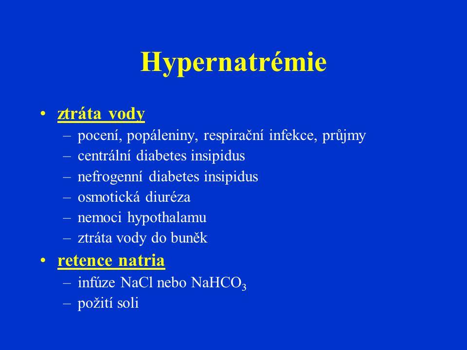 Hypernatrémie •ztráta vody –pocení, popáleniny, respirační infekce, průjmy –centrální diabetes insipidus –nefrogenní diabetes insipidus –osmotická diuréza –nemoci hypothalamu –ztráta vody do buněk •retence natria –infúze NaCl nebo NaHCO 3 –požití soli