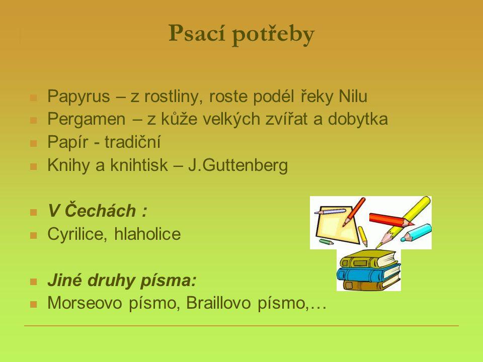Psací potřeby  Papyrus – z rostliny, roste podél řeky Nilu  Pergamen – z kůže velkých zvířat a dobytka  Papír - tradiční  Knihy a knihtisk – J.Gut