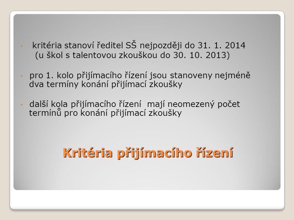 Kritéria přijímacího řízení • kritéria stanoví ředitel SŠ nejpozději do 31. 1. 2014 (u škol s talentovou zkouškou do 30. 10. 2013) • pro 1. kolo přijí