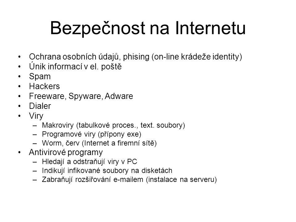Bezpečnost na Internetu •Ochrana osobních údajů, phising (on-line krádeže identity) •Únik informací v el.