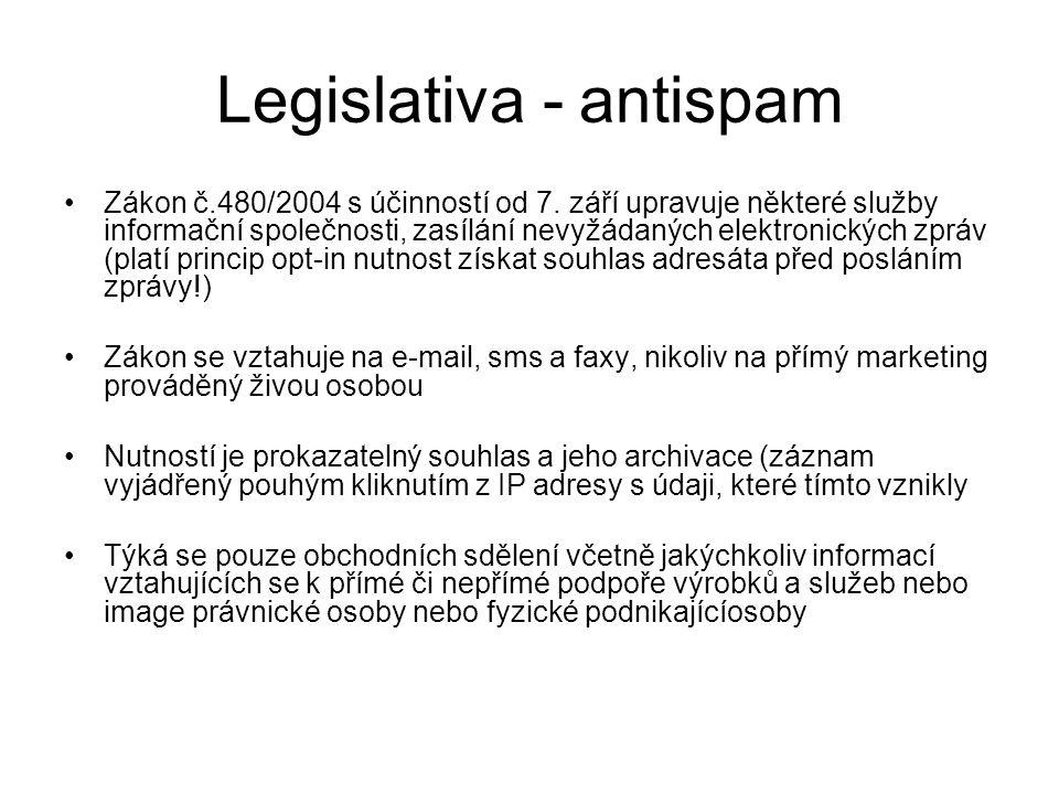 Legislativa - antispam •Zákon č.480/2004 s účinností od 7.