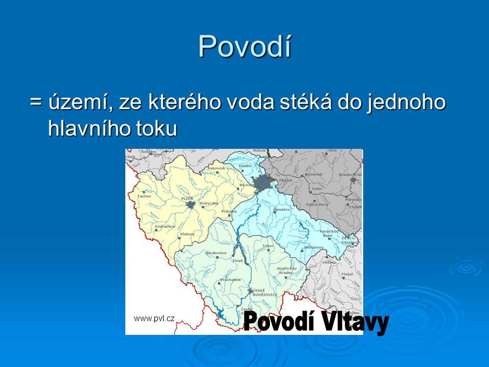 Povodí = území, ze kterého voda stéká do jednoho hlavního toku www.pvl.cz