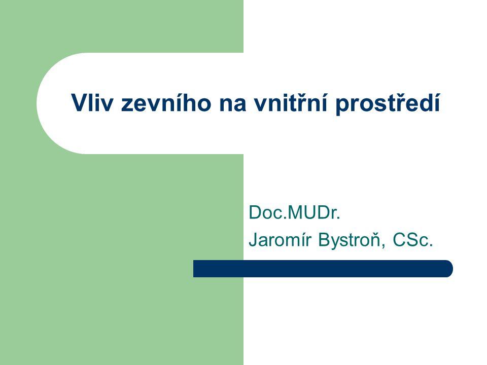 Vliv zevního na vnitřní prostředí Doc.MUDr. Jaromír Bystroň, CSc.