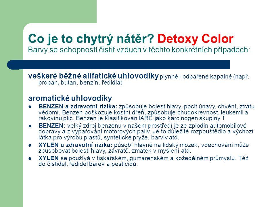 Co je to chytrý nátěr? Detoxy Color Barvy se schopností čistit vzduch v těchto konkrétních případech: veškeré běžné alifatické uhlovodíky plynné i odp