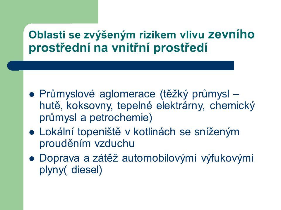 Oblasti Ostravy se zvýšenou zátěží příklad – Radvanice, Bartovice  v letech 2004-2009 na oblast Radvanic a Bartovic bylo výrazné proudění větrů ve směru od podniku ArcelorMittal po 26% všech dnů v roce (v topné sezóně je to přes 30% dnů) –  t.j 95- 119 dnů v roce.