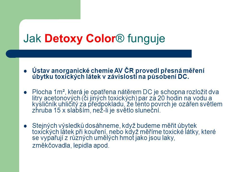 Jak Detoxy Color® funguje  Ústav anorganické chemie AV ČR provedl přesná měření úbytku toxických látek v závislosti na působení DC.  Plocha 1m², kte
