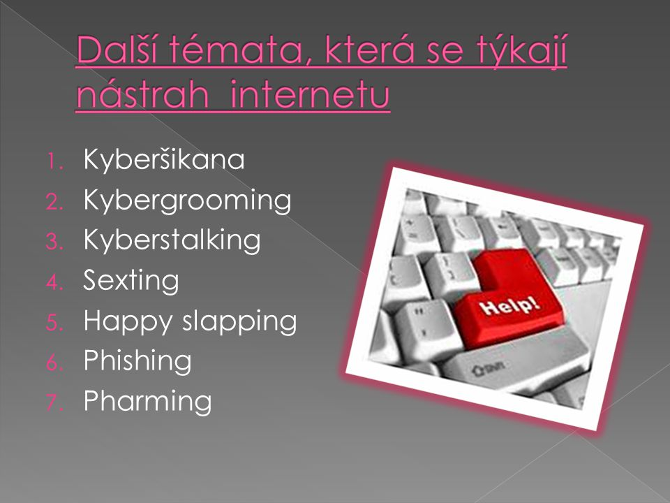 1. Kyberšikana 2. Kybergrooming 3. Kyberstalking 4. Sexting 5. Happy slapping 6. Phishing 7. Pharming