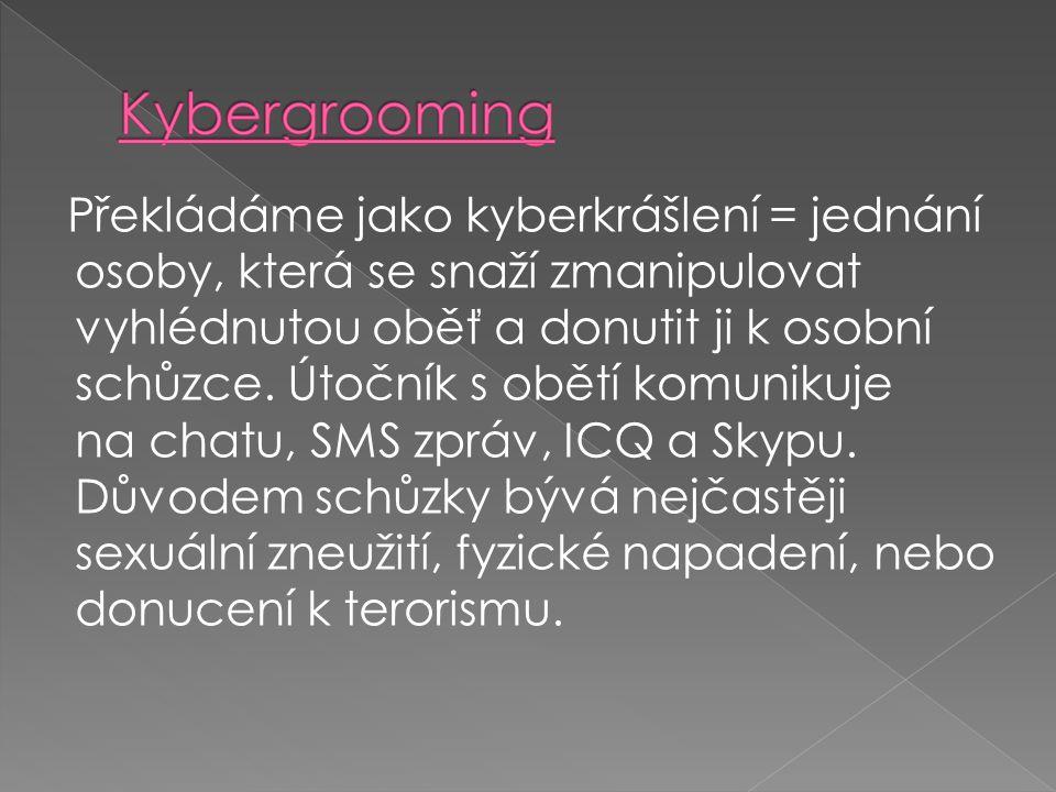 Překládáme jako kyberkrášlení = jednání osoby, která se snaží zmanipulovat vyhlédnutou oběť a donutit ji k osobní schůzce. Útočník s obětí komunikuje