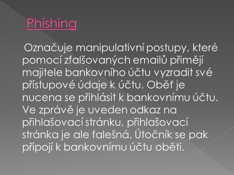 Označuje manipulativní postupy, které pomocí zfalšovaných emailů přimějí majitele bankovního účtu vyzradit své přístupové údaje k účtu. Oběť je nucena