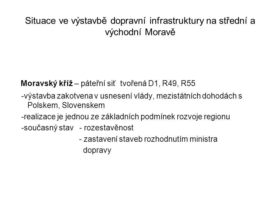 Situace ve výstavbě dopravní infrastruktury na střední a východní Moravě Moravský kříž – páteřní siť tvořená D1, R49, R55 -výstavba zakotvena v usnese