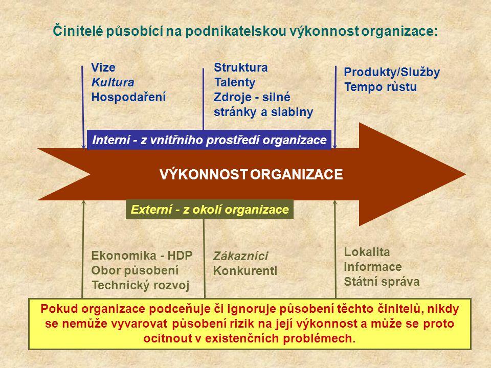 Činitelé působící na podnikatelskou výkonnost organizace: VÝKONNOST ORGANIZACE Vize Kultura Hospodaření Struktura Talenty Zdroje - silné stránky a sla