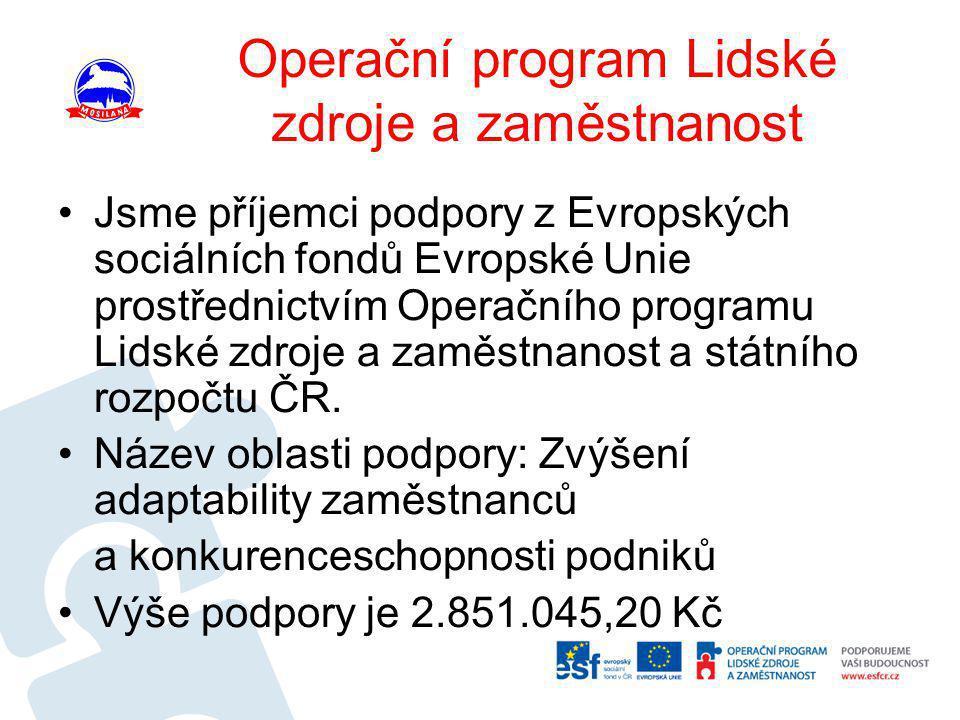 Operační program Lidské zdroje a zaměstnanost •Jsme příjemci podpory z Evropských sociálních fondů Evropské Unie prostřednictvím Operačního programu L