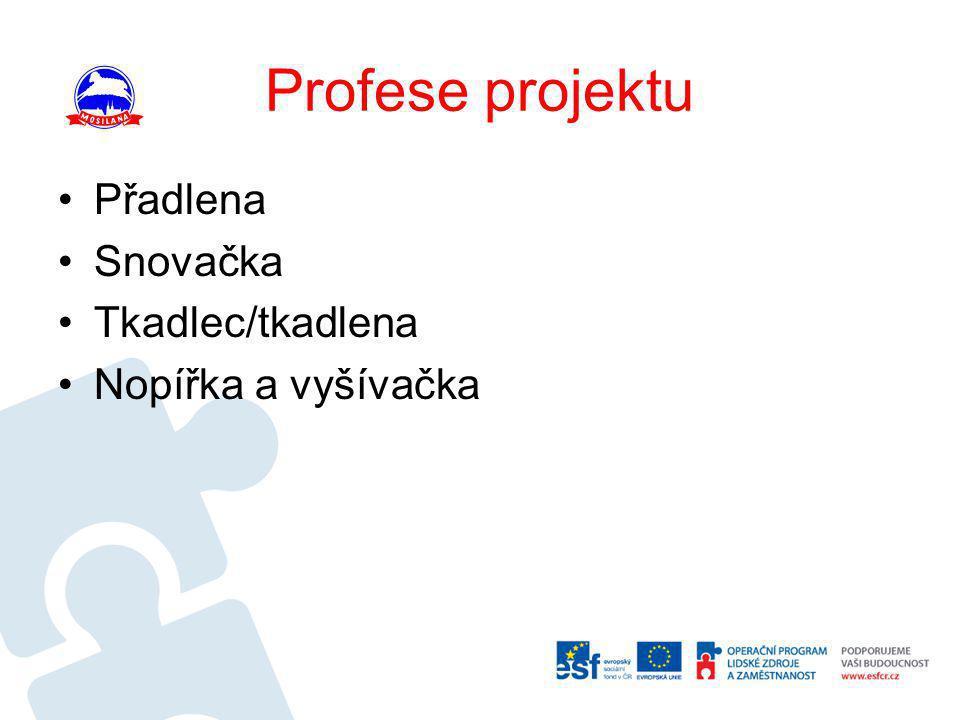 Profese projektu •Přadlena •Snovačka •Tkadlec/tkadlena •Nopířka a vyšívačka