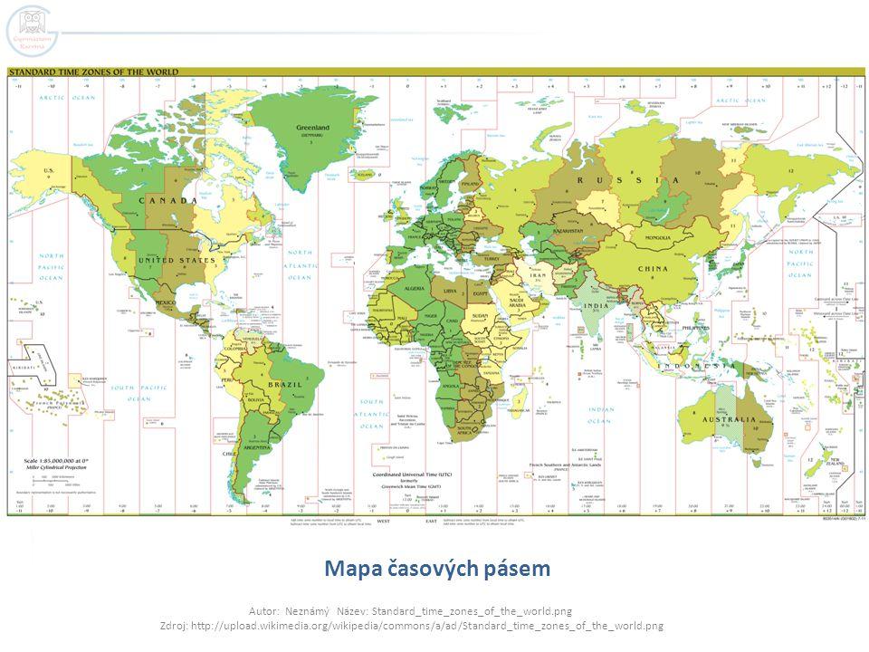 Mapa časových pásem Autor: Neznámý Název: Standard_time_zones_of_the_world.png Zdroj: http://upload.wikimedia.org/wikipedia/commons/a/ad/Standard_time