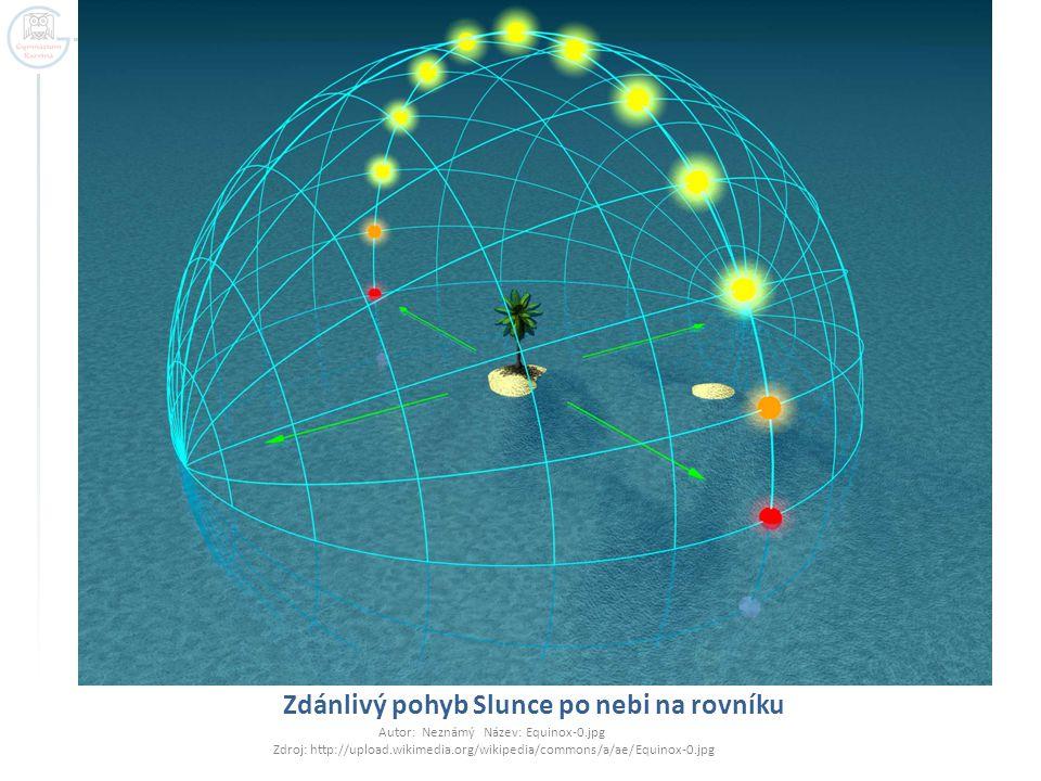Zdánlivý pohyb Slunce po nebi na rovníku Autor: Neznámý Název: Equinox-0.jpg Zdroj: http://upload.wikimedia.org/wikipedia/commons/a/ae/Equinox-0.jpg