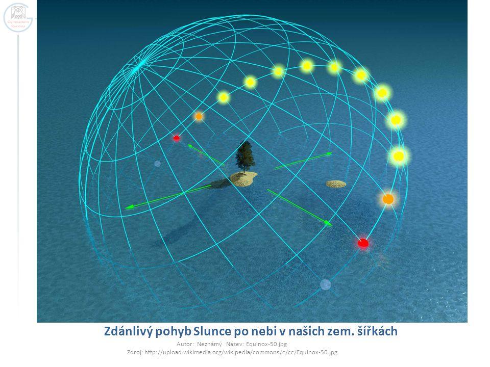 Zdánlivý pohyb Slunce po nebi v našich zem. šířkách Autor: Neznámý Název: Equinox-50.jpg Zdroj: http://upload.wikimedia.org/wikipedia/commons/c/cc/Equ