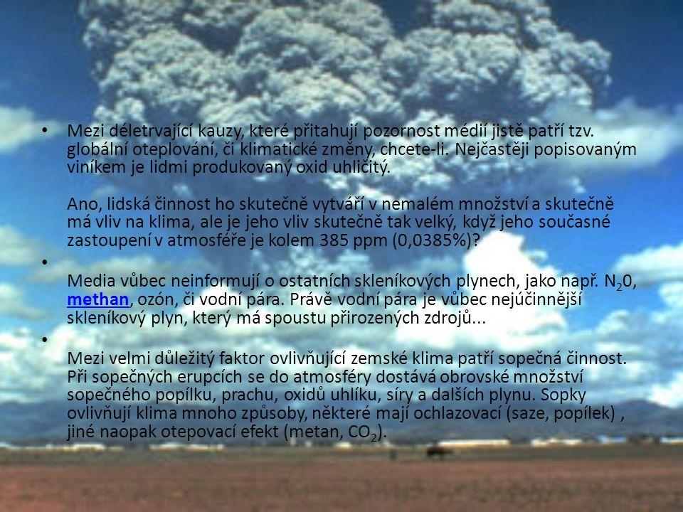 • Mezi déletrvající kauzy, které přitahují pozornost médií jistě patří tzv. globální oteplování, či klimatické změny, chcete-li. Nejčastěji popisovaný
