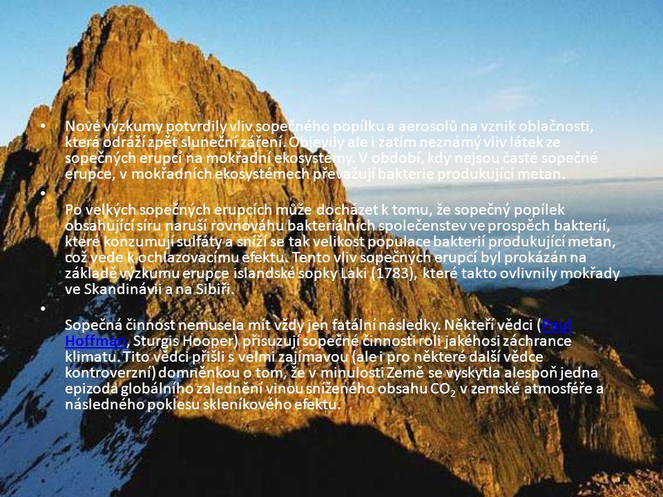 • Nové výzkumy potvrdily vliv sopečného popílku a aerosolů na vznik oblačnosti, která odráží zpět sluneční záření.