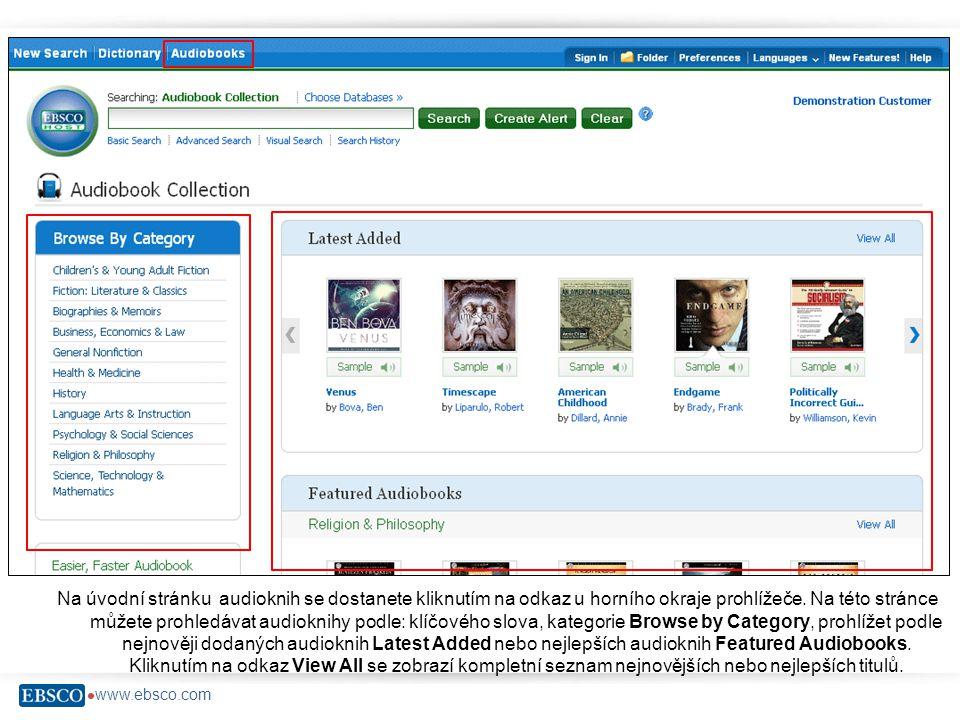  www.ebsco.com Na úvodní stránku audioknih se dostanete kliknutím na odkaz u horního okraje prohlížeče.