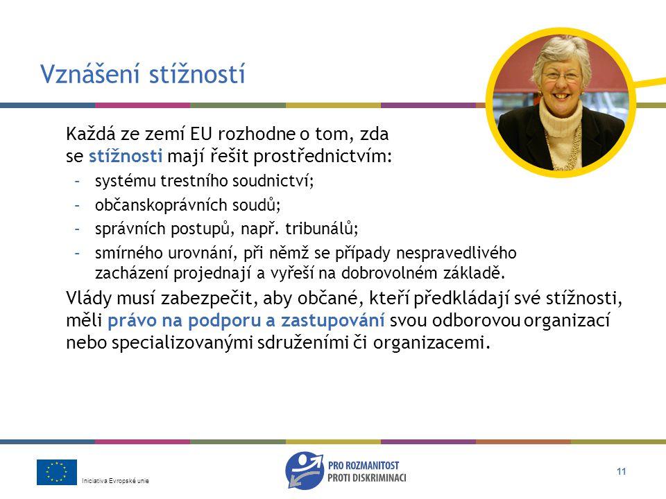 Iniciativa Evropské unie 11 Vznášení stížností Každá ze zemí EU rozhodne o tom, zda se stížnosti mají řešit prostřednictvím: –systému trestního soudnictví; –občanskoprávních soudů; –správních postupů, např.