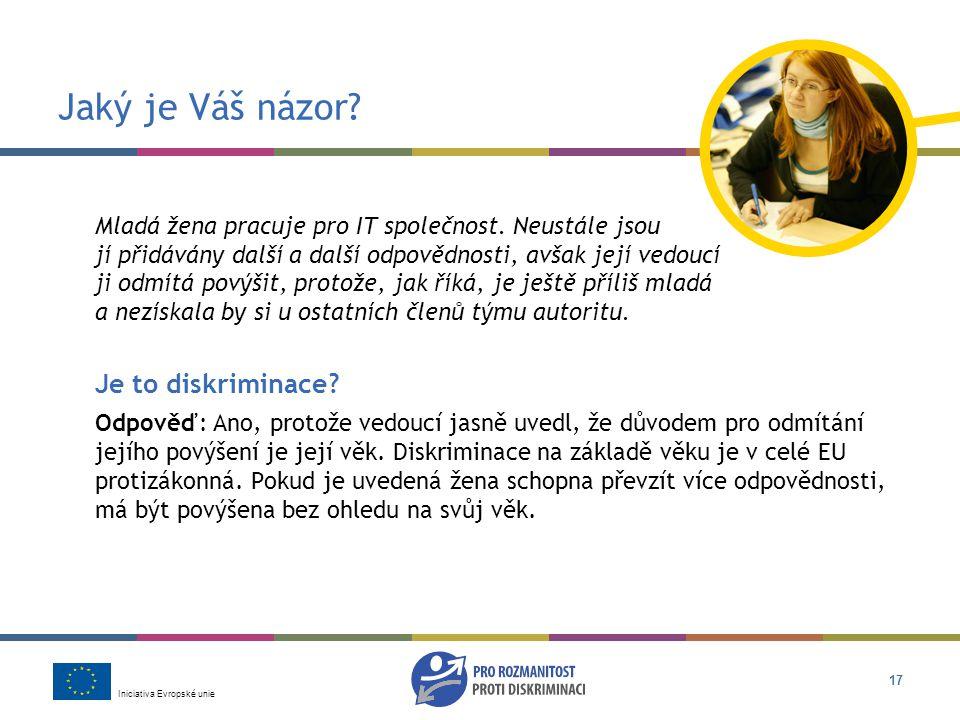 Iniciativa Evropské unie 17 Jaký je Váš názor.Mladá žena pracuje pro IT společnost.