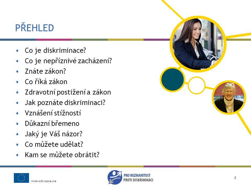 Iniciativa Evropské unie 2 PŘEHLED •Co je diskriminace.
