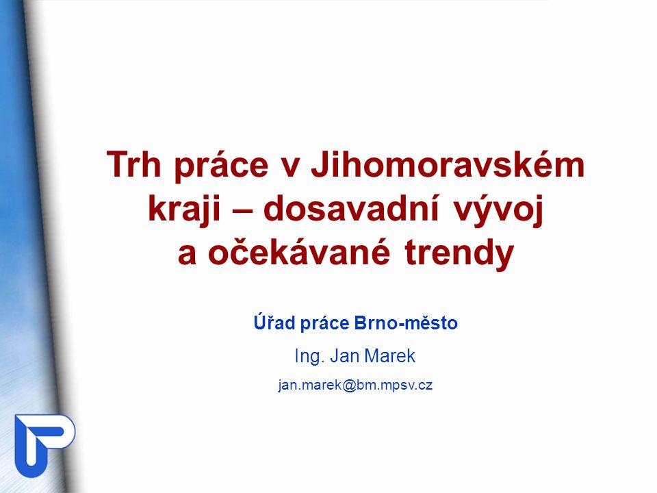 Úřad práce Brno-město Ing. Jan Marek jan.marek@bm.mpsv.cz Trh práce v Jihomoravském kraji – dosavadní vývoj a očekávané trendy
