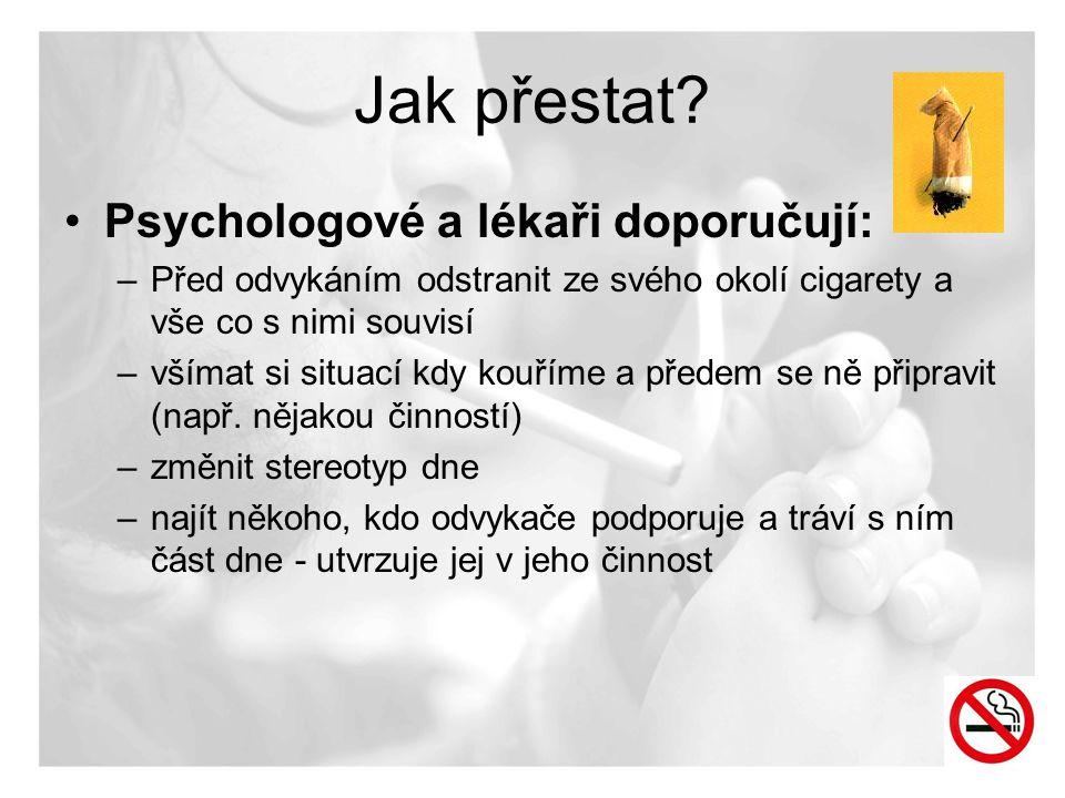 Jak přestat? •Psychologové a lékaři doporučují: –Před odvykáním odstranit ze svého okolí cigarety a vše co s nimi souvisí –všímat si situací kdy kouří