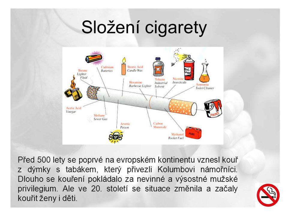 Složení cigarety Před 500 lety se poprvé na evropském kontinentu vznesl kouř z dýmky s tabákem, který přivezli Kolumbovi námořníci. Dlouho se kouření