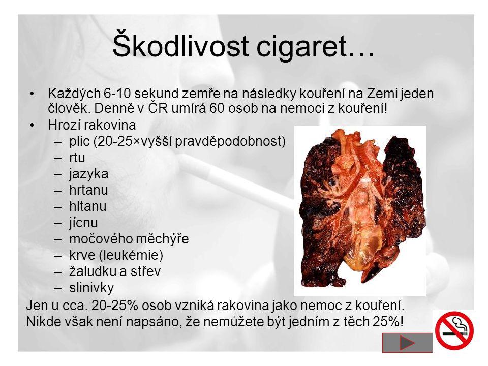 Škodlivost cigaret… •Každých 6-10 sekund zemře na následky kouření na Zemi jeden člověk. Denně v ČR umírá 60 osob na nemoci z kouření! •Hrozí rakovina