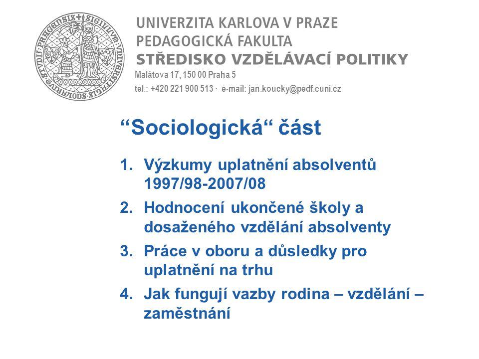 Malátova 17, 150 00 Praha 5 tel.: +420 221 900 513 · e-mail: jan.koucky@pedf.cuni.cz Sociologická část 1.Výzkumy uplatnění absolventů 1997/98-2007/08 2.Hodnocení ukončené školy a dosaženého vzdělání absolventy 3.Práce v oboru a důsledky pro uplatnění na trhu 4.Jak fungují vazby rodina – vzdělání – zaměstnání