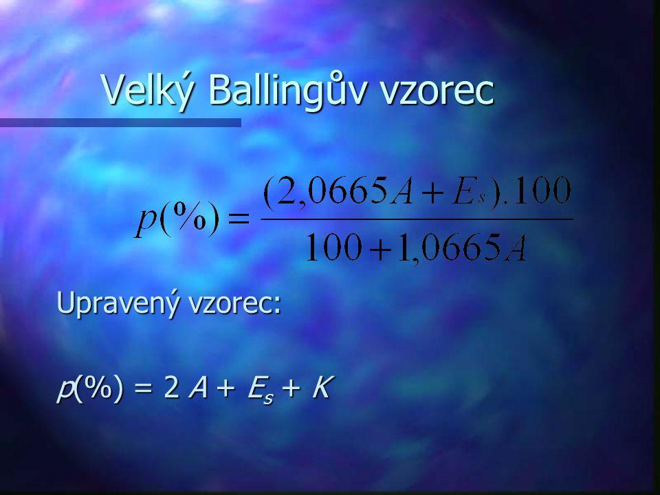 Velký Ballingův vzorec Upravený vzorec: p(%) = 2 A + E s + K