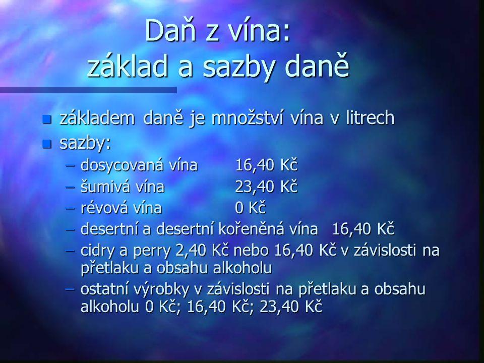Daň z vína: základ a sazby daně n základem daně je množství vína v litrech n sazby: –dosycovaná vína16,40 Kč –šumivá vína23,40 Kč –révová vína0 Kč –de