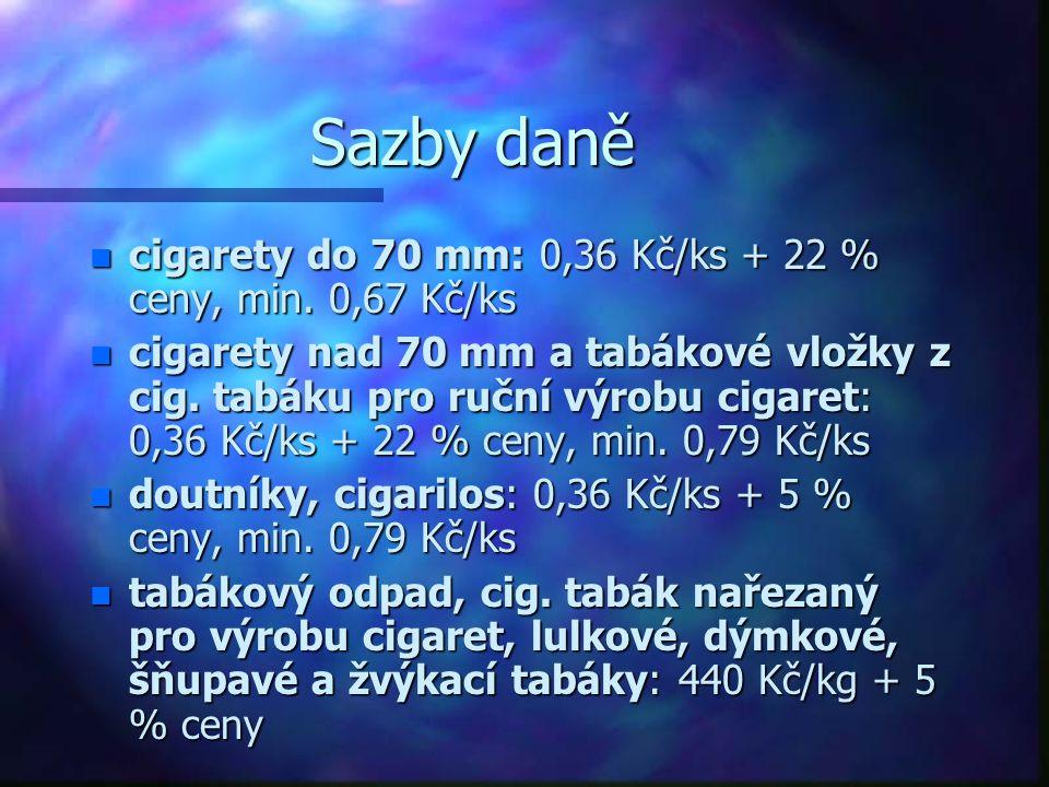 Sazby daně n cigarety do 70 mm: 0,36 Kč/ks + 22 % ceny, min. 0,67 Kč/ks n cigarety nad 70 mm a tabákové vložky z cig. tabáku pro ruční výrobu cigaret: