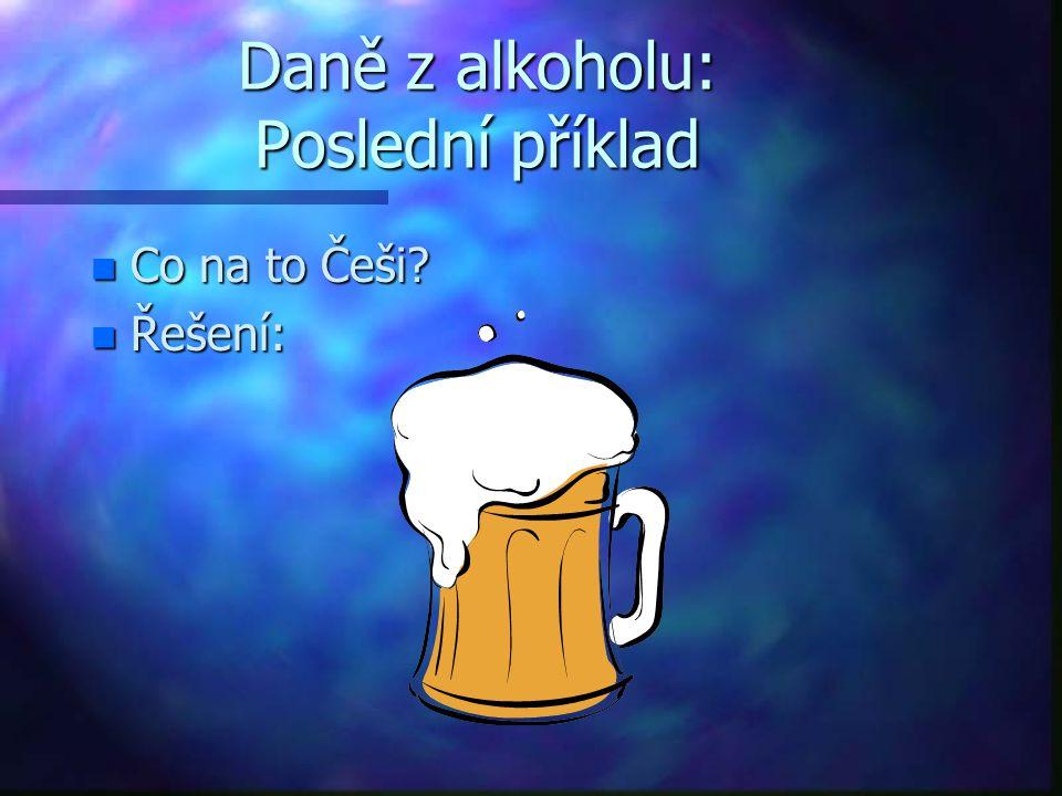 Daně z alkoholu: Poslední příklad n Co na to Češi? n Řešení: