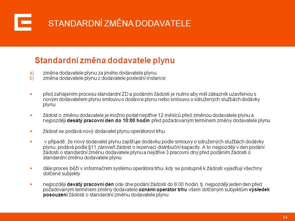 11 STANDARDNÍ ZMĚNA DODAVATELE Standardní změna dodavatele plynu a)změna dodavatele plynu za jiného dodavatele plynu b)změna dodavatele plynu z dodava
