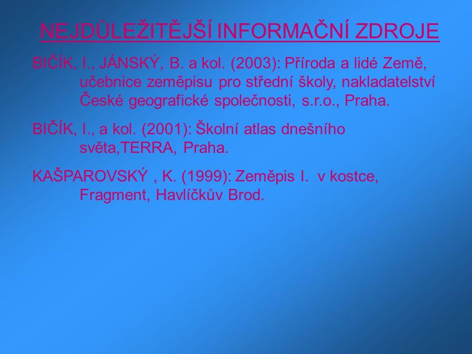 NEJDŮLEŽITĚJŠÍ INFORMAČNÍ ZDROJE BIČÍK, I., JÁNSKÝ, B. a kol. (2003): Příroda a lidé Země, učebnice zeměpisu pro střední školy, nakladatelství České g