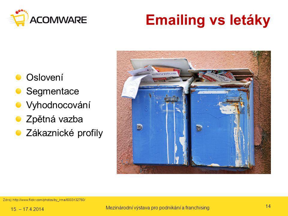 Zdroj: http://www.flickr.com/photos/by_irma/6003132760/ Emailing vs letáky 14 Oslovení Segmentace Vyhodnocování Zpětná vazba Zákaznické profily 15. –