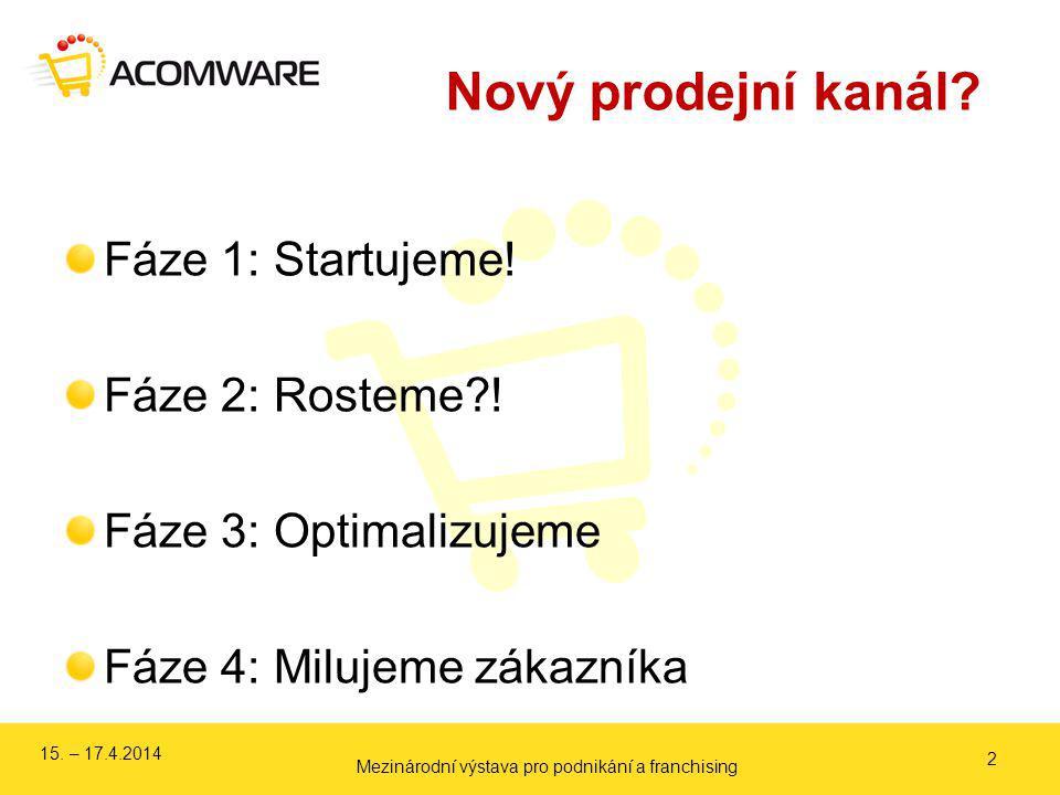 Nový prodejní kanál? Fáze 1: Startujeme! Fáze 2: Rosteme?! Fáze 3: Optimalizujeme Fáze 4: Milujeme zákazníka 2 15. – 17.4.2014 Mezinárodní výstava pro