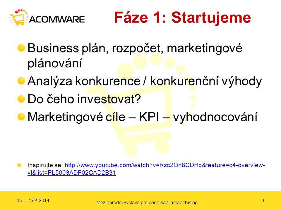 Fáze 1: Startujeme 3 Business plán, rozpočet, marketingové plánování Analýza konkurence / konkurenční výhody Do čeho investovat? Marketingové cíle – K