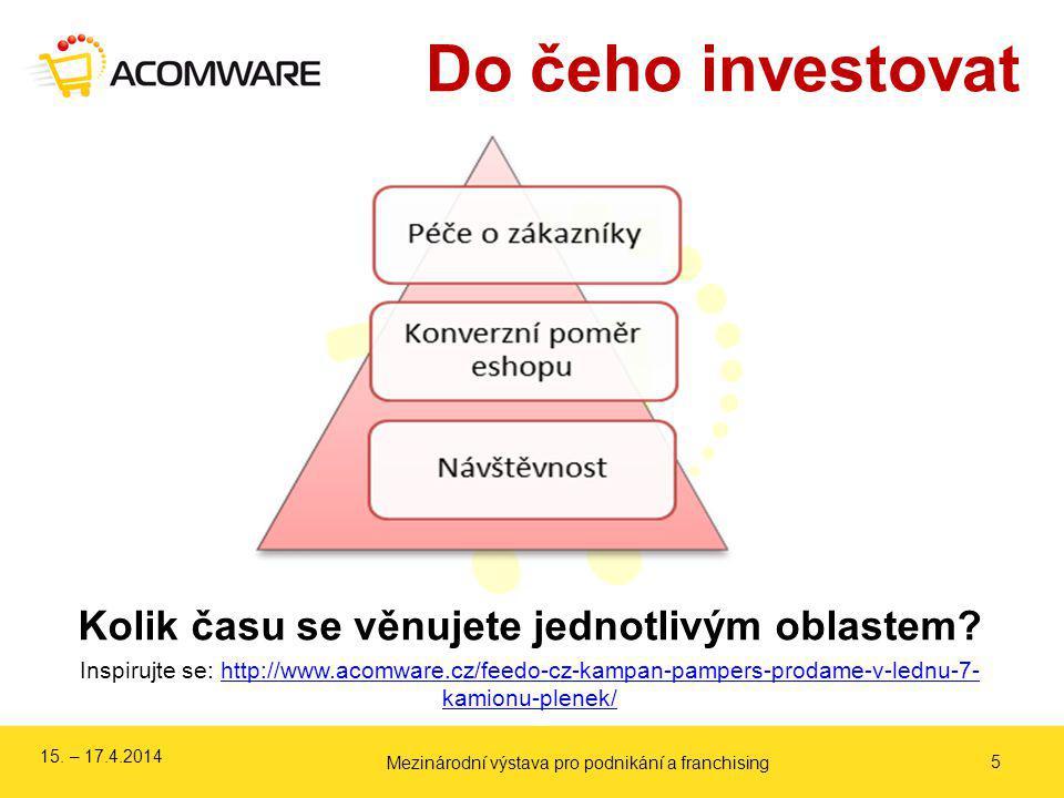 Do čeho investovat 5 Kolik času se věnujete jednotlivým oblastem? Inspirujte se: http://www.acomware.cz/feedo-cz-kampan-pampers-prodame-v-lednu-7- kam