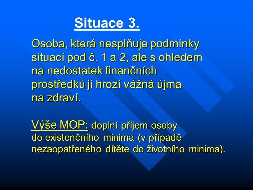 Situace 3. Osoba, která nesplňuje podmínky situací pod č. 1 a 2, ale s ohledem na nedostatek finančních prostředků ji hrozí vážná újma na zdraví. Výše