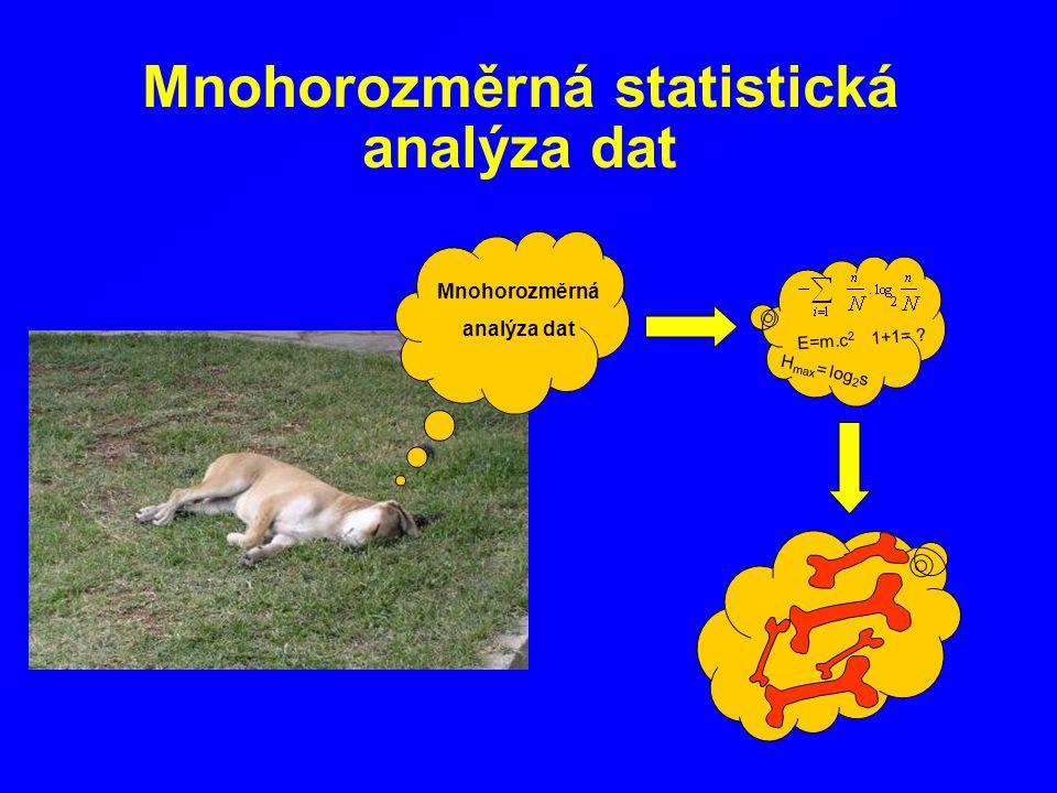 Mnohorozměrná statistická analýza dat E=m.c 2 1+1= ? H max = log 2 s Mnohorozměrná analýza dat