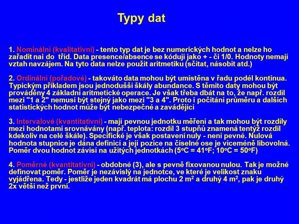 1. Nominální (kvalitativní) - tento typ dat je bez numerických hodnot a nelze ho zařadit nai do tříd. Data presence/absence se kódují jako + - či 1/0.