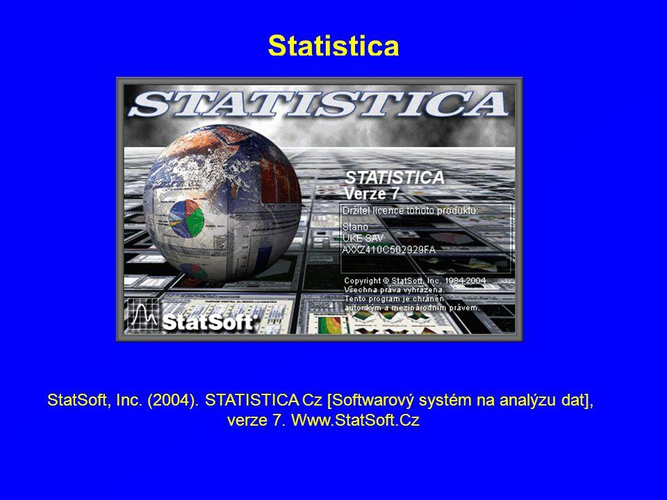 Statistica StatSoft, Inc. (2004). STATISTICA Cz [Softwarový systém na analýzu dat], verze 7. Www.StatSoft.Cz