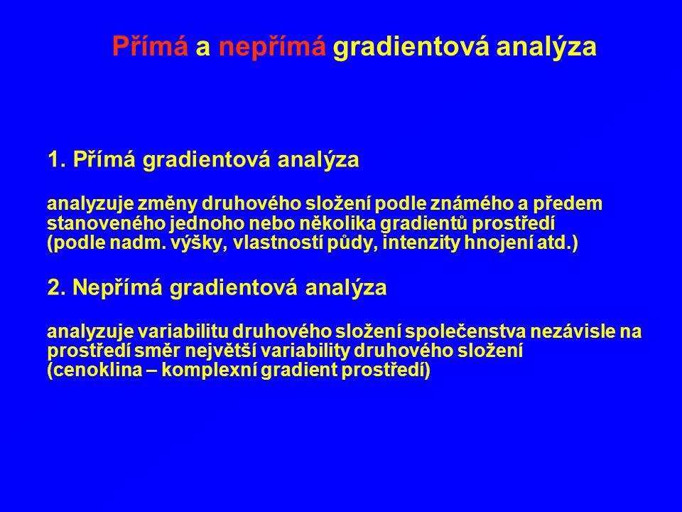 1. Přímá gradientová analýza analyzuje změny druhového složení podle známého a předem stanoveného jednoho nebo několika gradientů prostředí (podle nad