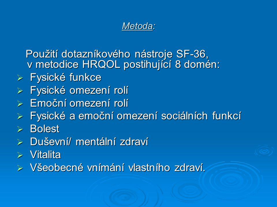 Metoda: Použití dotazníkového nástroje SF-36, v metodice HRQOL postihující 8 domén: Použití dotazníkového nástroje SF-36, v metodice HRQOL postihující