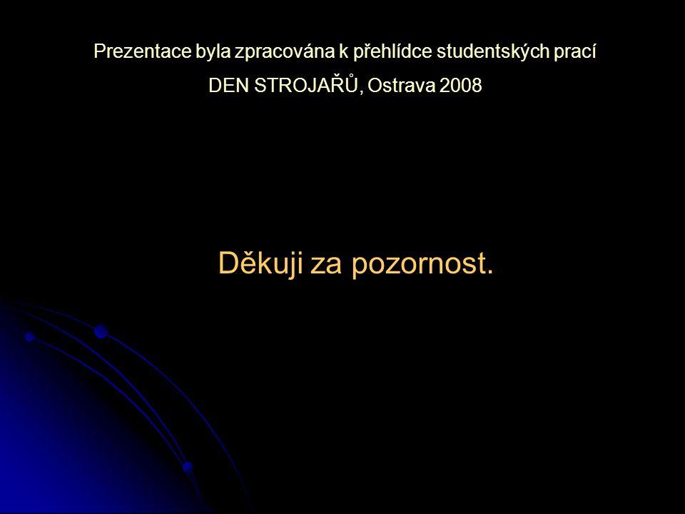 Děkuji za pozornost. Prezentace byla zpracována k přehlídce studentských prací DEN STROJAŘŮ, Ostrava 2008
